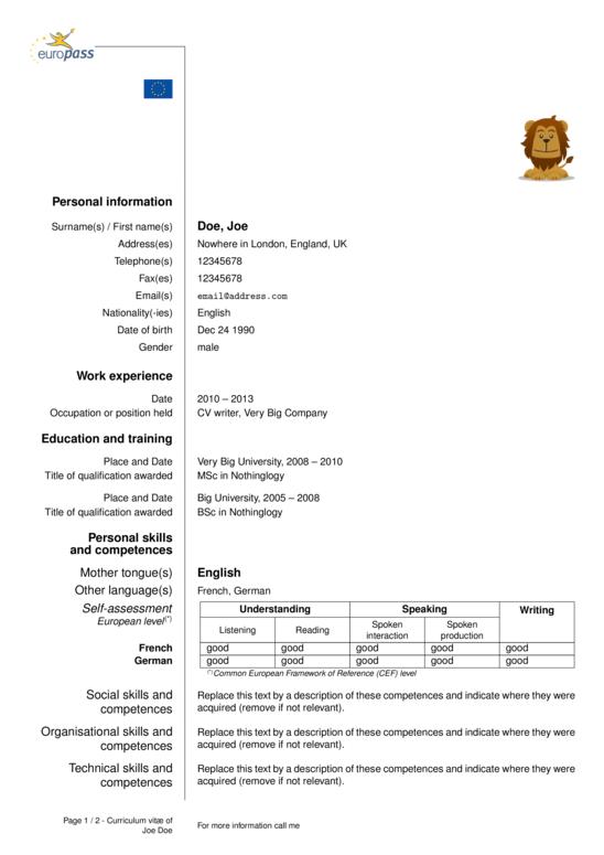Cv Template Europe Cv Template Resume Design Template Cv Template Download