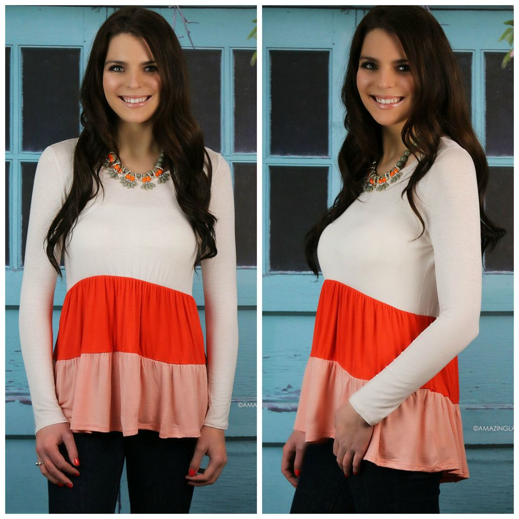 Spring Fever Coral Color Block Ruffled Top Only $10!!