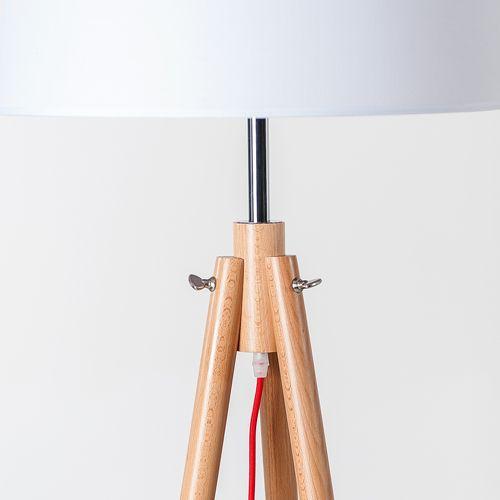 Lampadaire trépied en bois naturel avec abat jour tissu blanc York