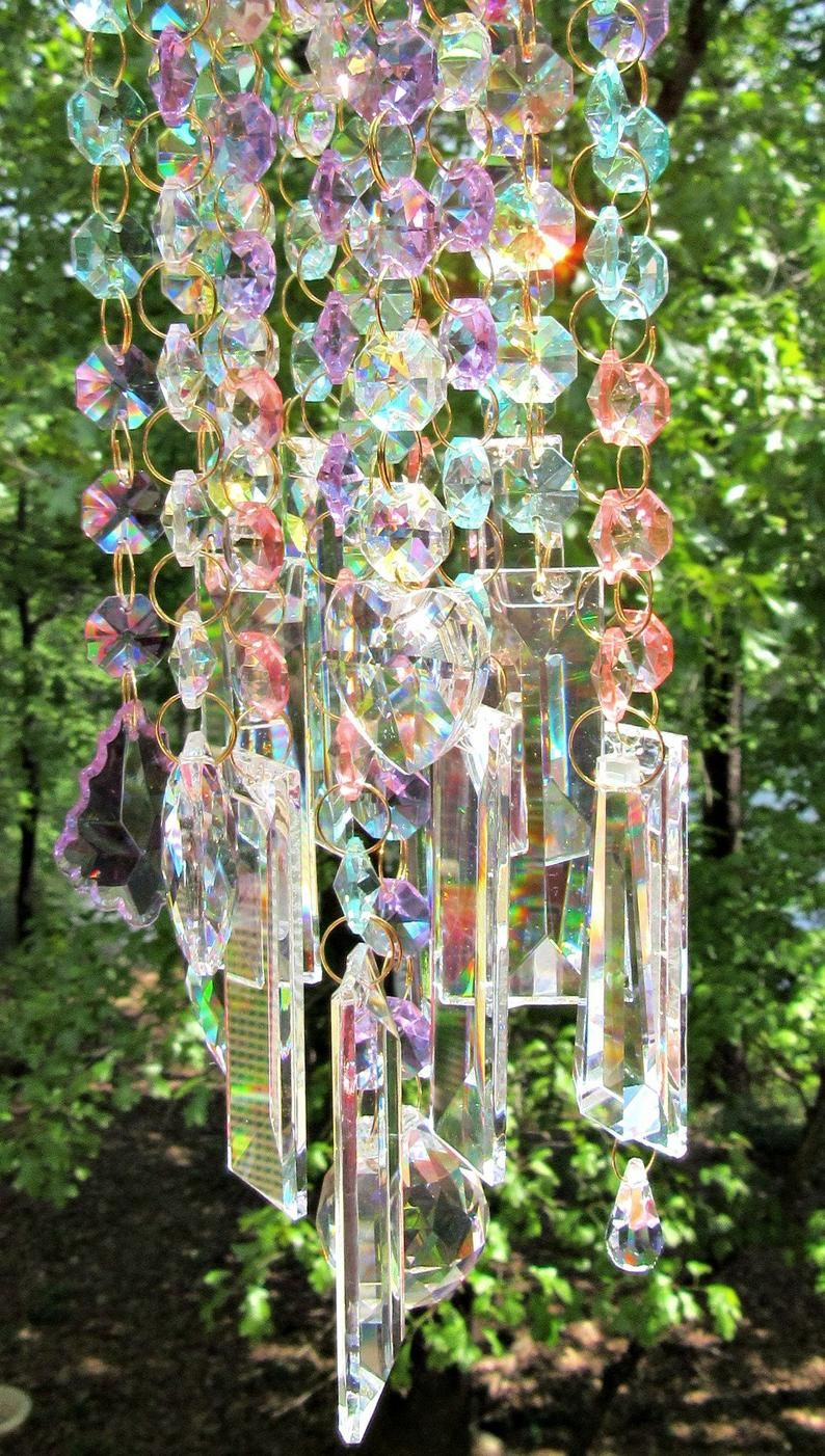 Ab Crystal Wind Chime Crystal Sun Catcher Glass Wind Chime Etsy In 2020 Crystal Wind Chimes Wind Chimes Glass Wind Chimes