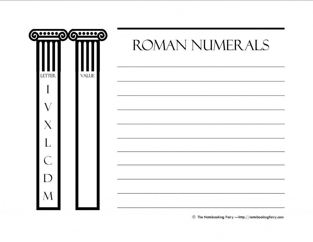 It is a graphic of Versatile Roman Numerals Printable