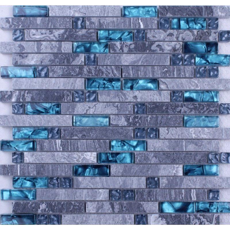 Blue Glass Stone Mosaic Wall Tiles Gray Marble Tile Kitchen