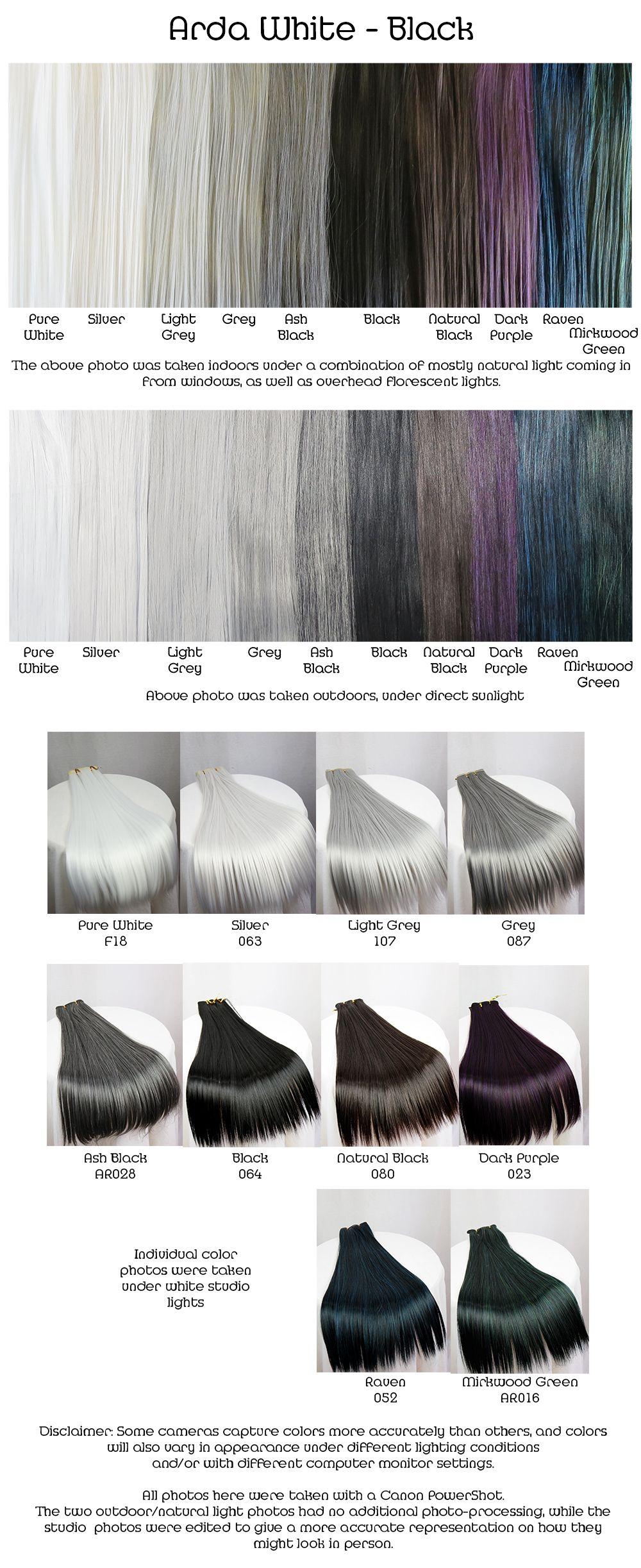 Color chart for wigs - Arda White Black Wig Fiber Color Pallette