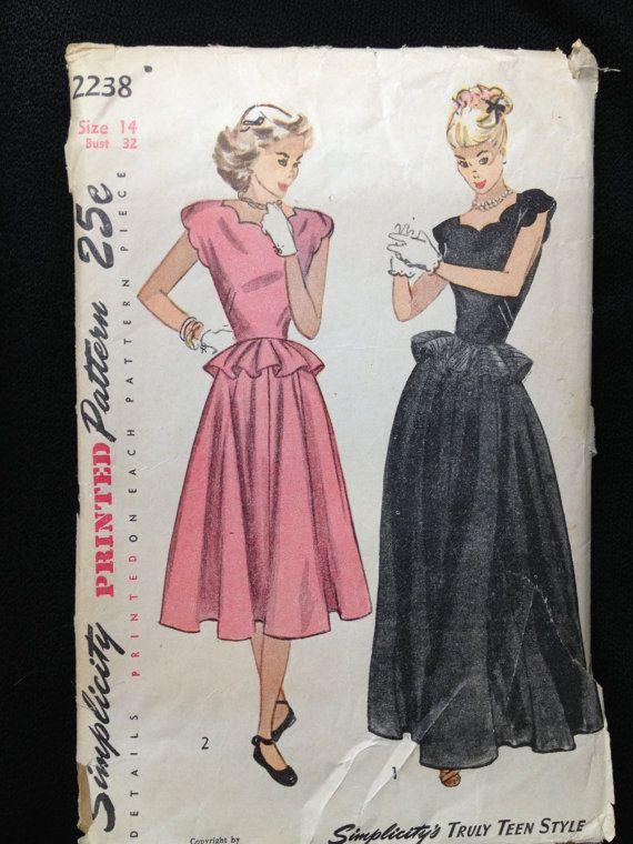 Vintage Pattern Simplicity 2238 1940s 1947 by momandpopcultureshop, $44.00