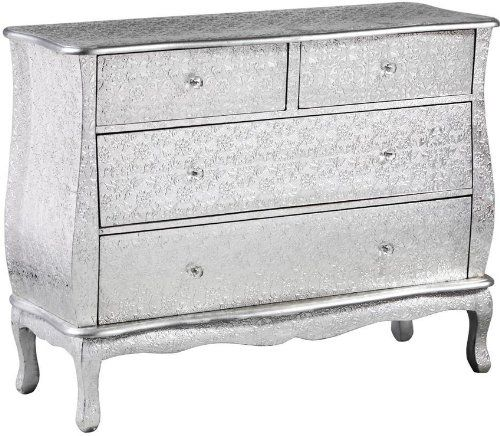 Best Large And Beautiful Light Silver Embossed Metal Chest Of 640 x 480