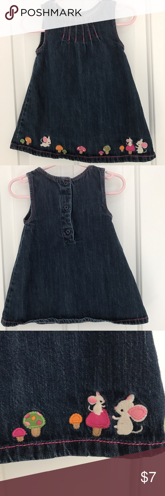 Gymboree denim jumper with pink stitching Gymboree denim jumper with pink stitching. Completely adorable! No stains, no rips', non-smoking household. Gymboree Dresses Casual