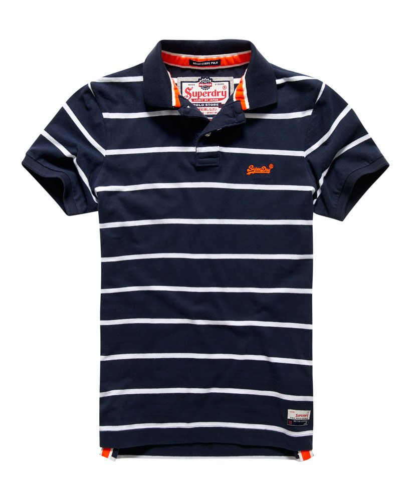 6462c9708 Mens - Miami Stripe Polo Shirt in Navy/optic | Superdry | Pin in ...