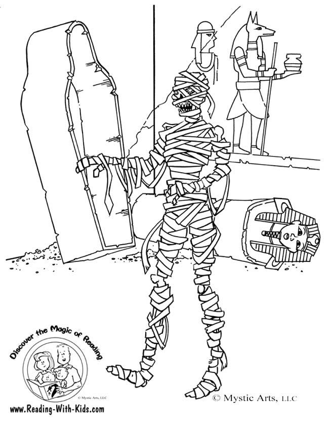 Halloween mummy coloring page Graphics and Backgrounds
