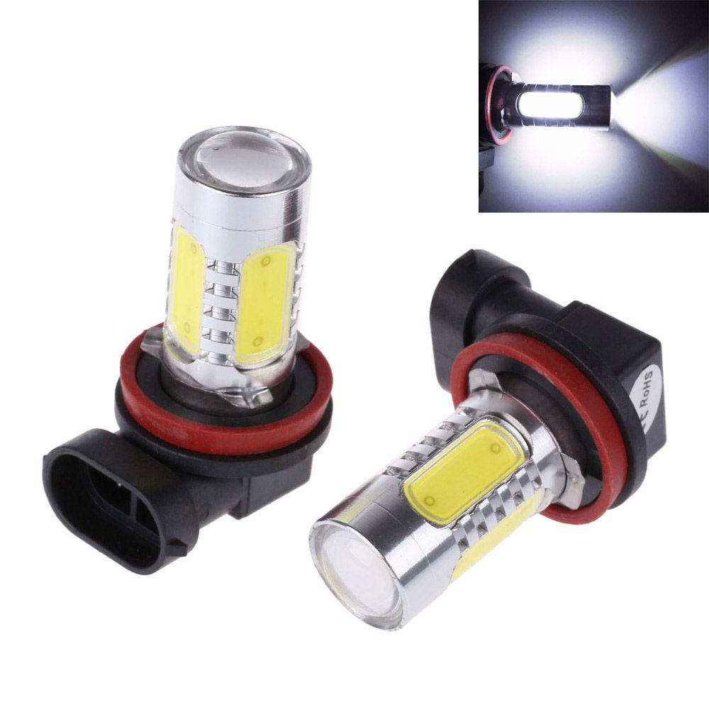 2 Stks Xenon Wit H11 7.5 W COB LED Lamp Auto Auto Lichtbron Projector DRL Rijden Fog Koplamp 12 V DC