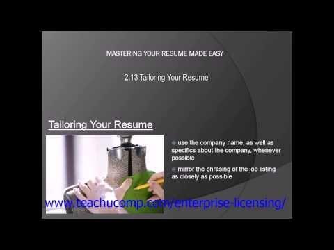 Resume Skills Tailoring Your Resume To The Job Teachucomp Inc Resume Skills Resume Skills Section Resume