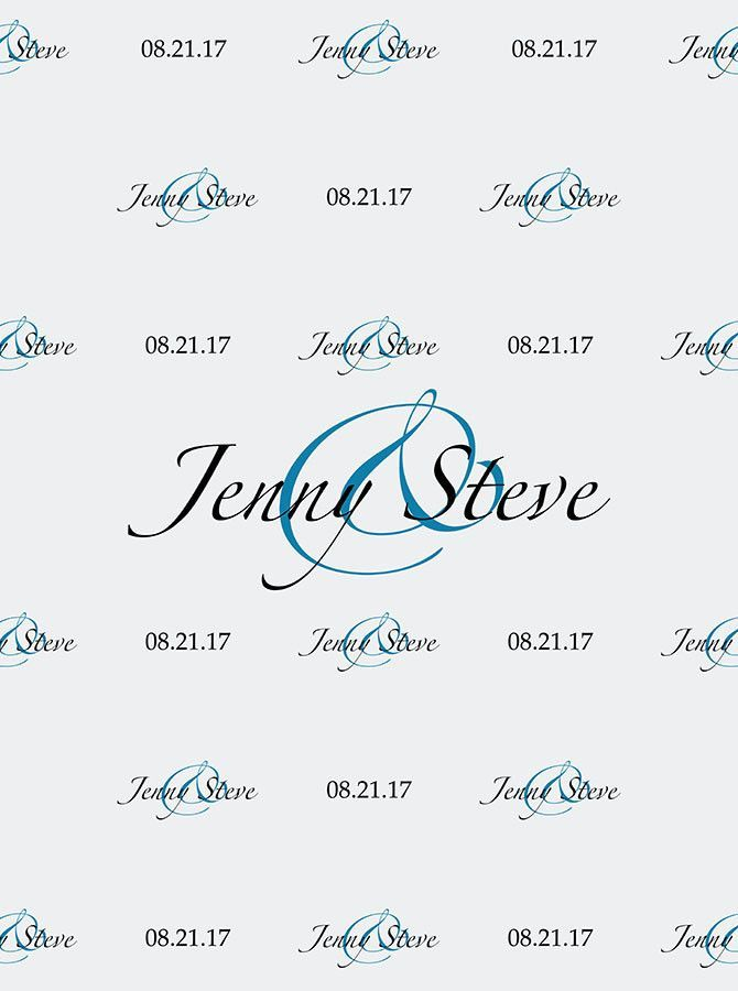 custom wedding step and repeat backdrop white and blue color font