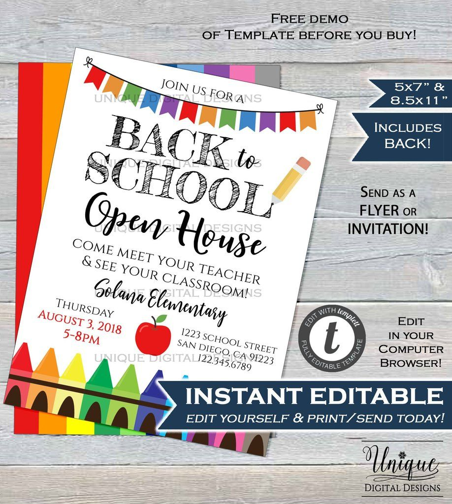 Back To School Open House Invitation Meet Your Teacher Pta Invite Crayon School Flyer Digital Print Open House Invitation School Invitation Card School Opening