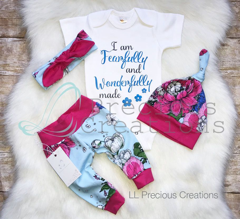 20b320b4593 Newborn Girl Outfit Baby Girl Coming Home Outfit I am Fearfully and Wonderfully  made Floral Outfit