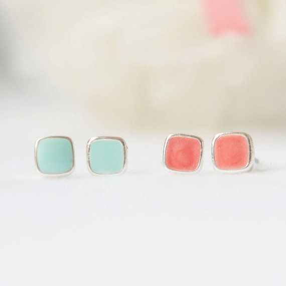 Tiny square stud earrings, mint and peach. Loving the mint color everywhere.