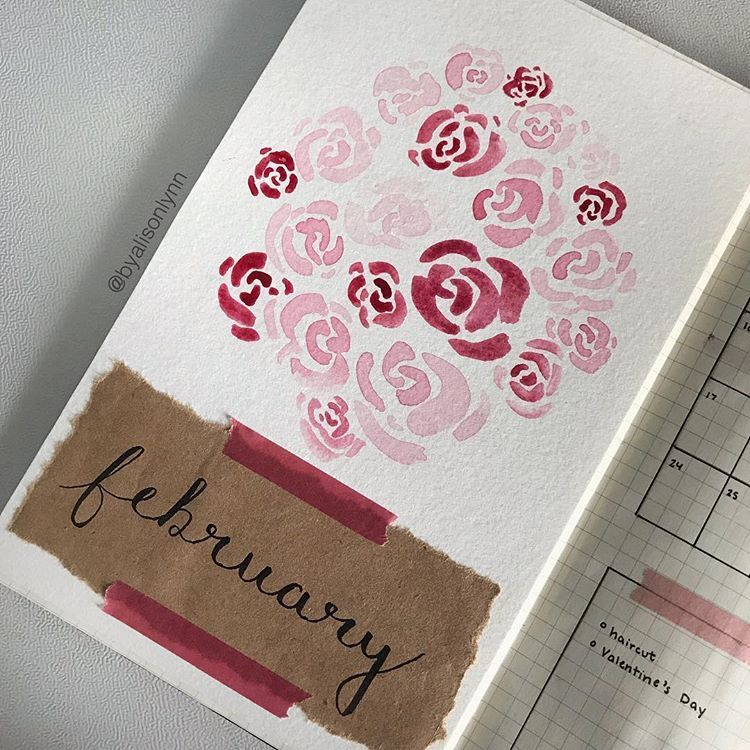 Some Watercolor Roses For My February Cover Page Bulletjournal
