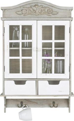 Wandregal in Weiß und Braun - ein Blickfang im Vintage-Stil