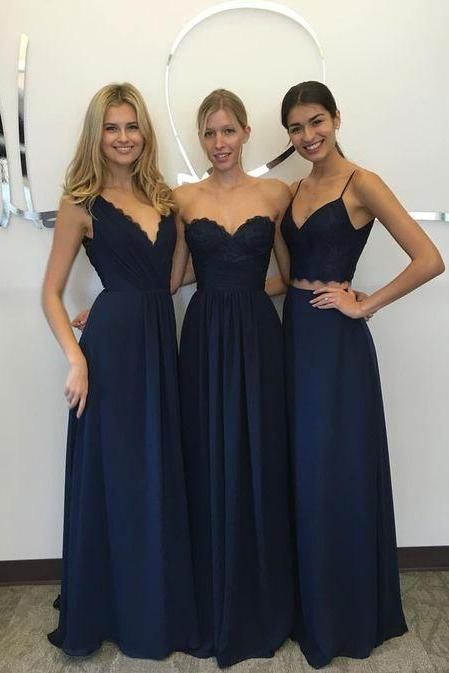F14 Navy Blue Bridesmaid Dresses Lace Chiffon Custom