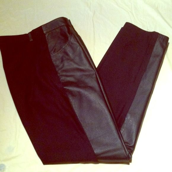 David Benjamin pants Wore once black color shell: (front) 100% leather (back) 95% nylon 5% spandex (lining) 100% nylon inseam 30 rise 11 straight leg these are high rise very stretchy two front pockets no pockets in back David Benjamin Pants