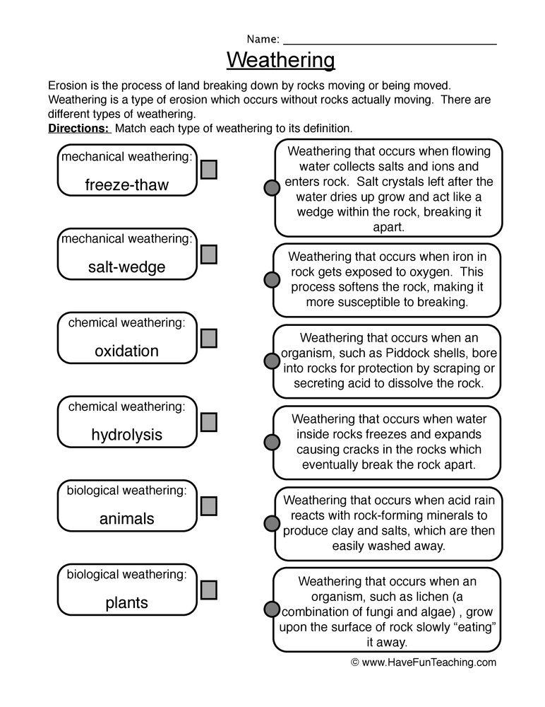 weathering worksheet 1 Mechanical weathering, Have fun