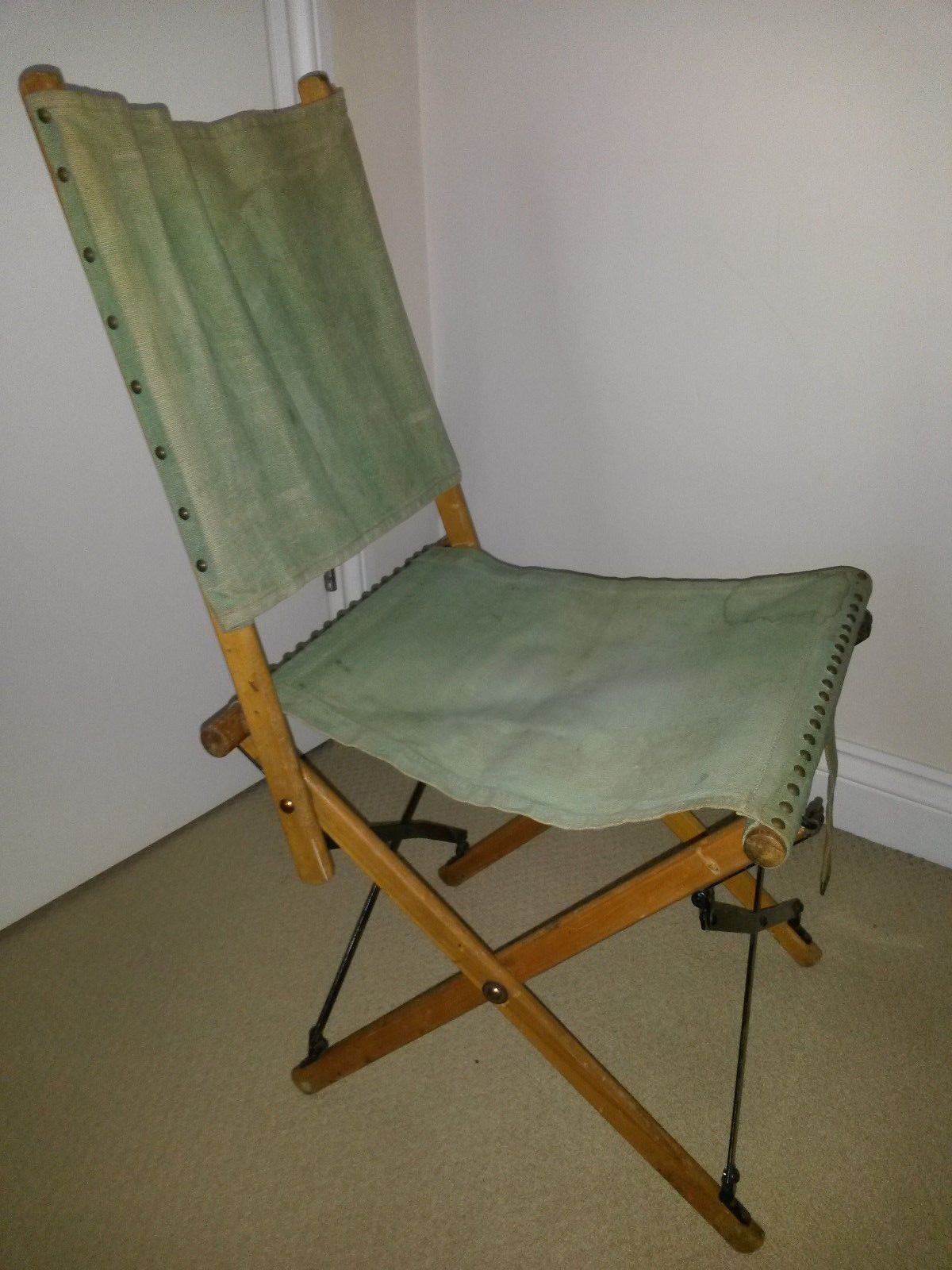 British Army Officeru0027s Folding Chair. A Name Was Written On The Back Which  Has Been