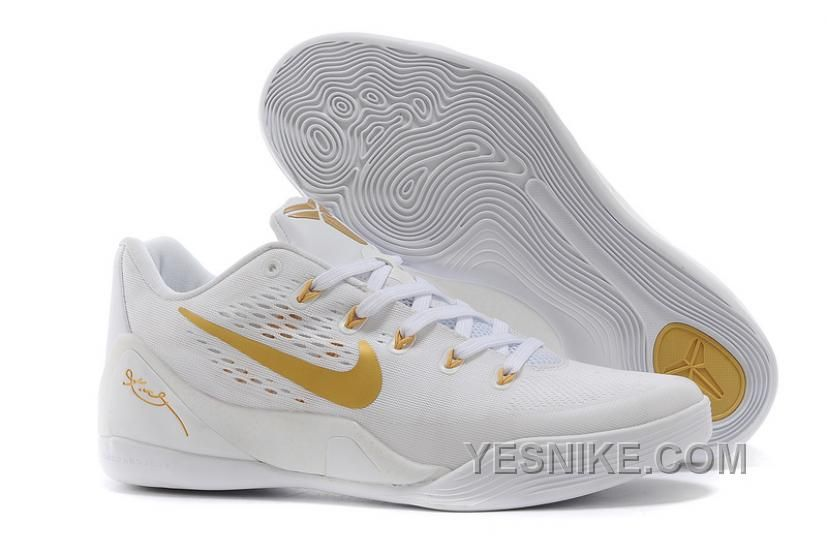 Buy Nike Kobe 9 Low EM White Gold Mens Basketball Shoes Christmas Deals  from Reliable Nike