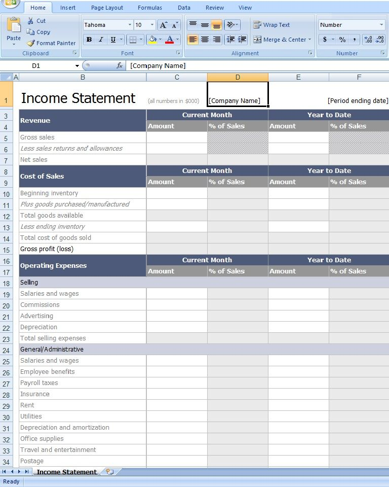 Download Income Statement Template Excel From Exceltemplatesinn