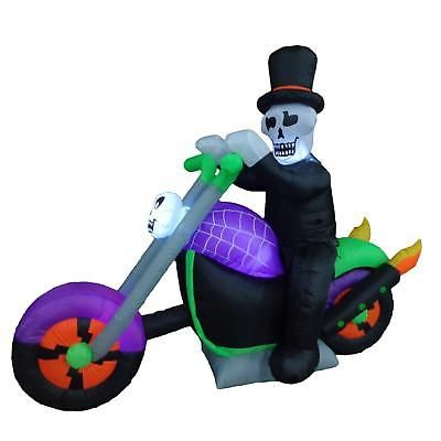 Inflatable Halloween Decoration Skeleton On Motorcycle Lighted - halloween lighted decorations