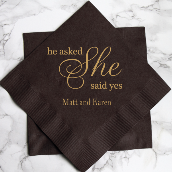 he asked she said yes personalized bridal shower napkins