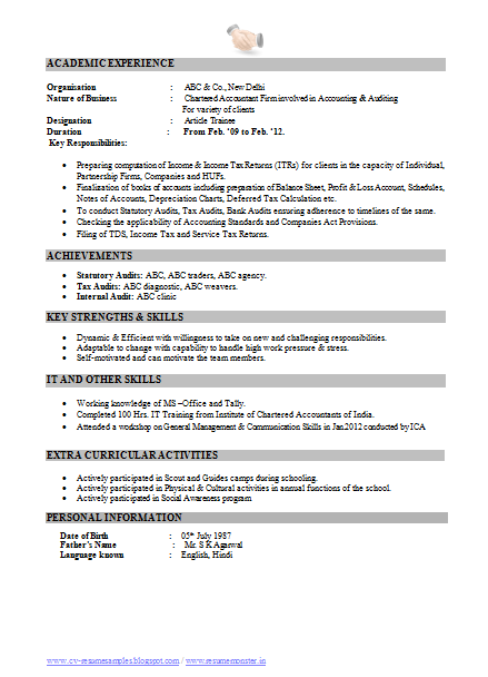 Free Resume Sample Ca Chartered Accountant 2 Download Resume