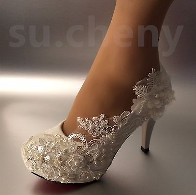 e4b467c8f76 Details about su cheny 3 4 heel white ivory lace pearls wedding ...