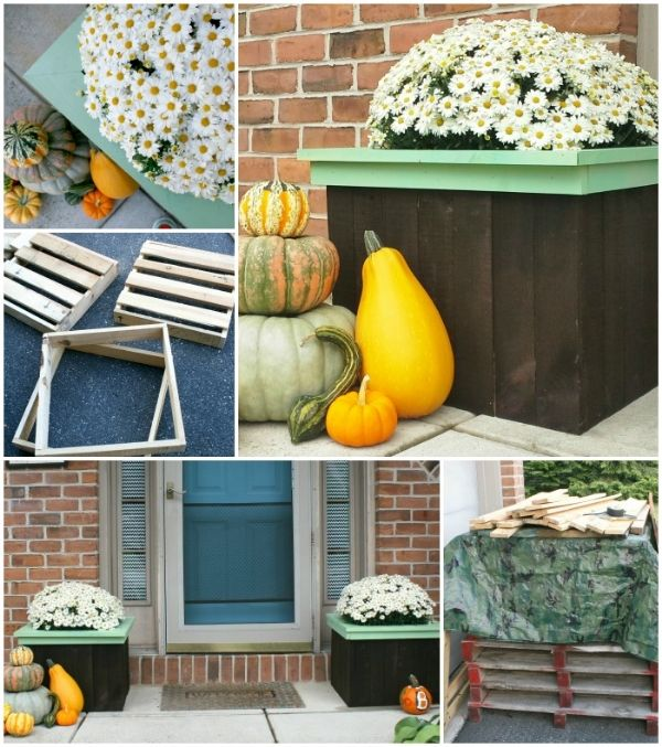 This would be cute for my mom who loves to plant flowers just about anywhere there's space. | Pallet Flower Planters