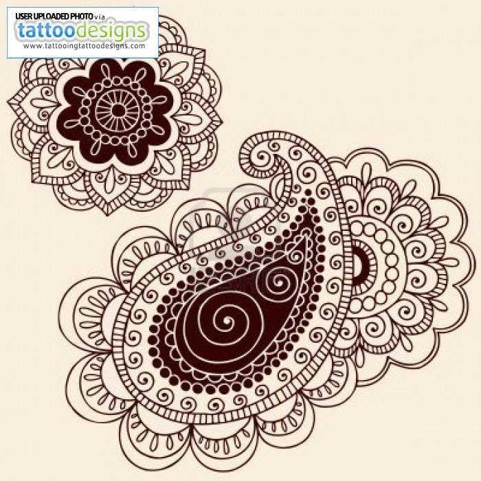 Hand Drawn Henna Mehndi Tattoo Flowers And Paisley Doodle Illustration Design Elements