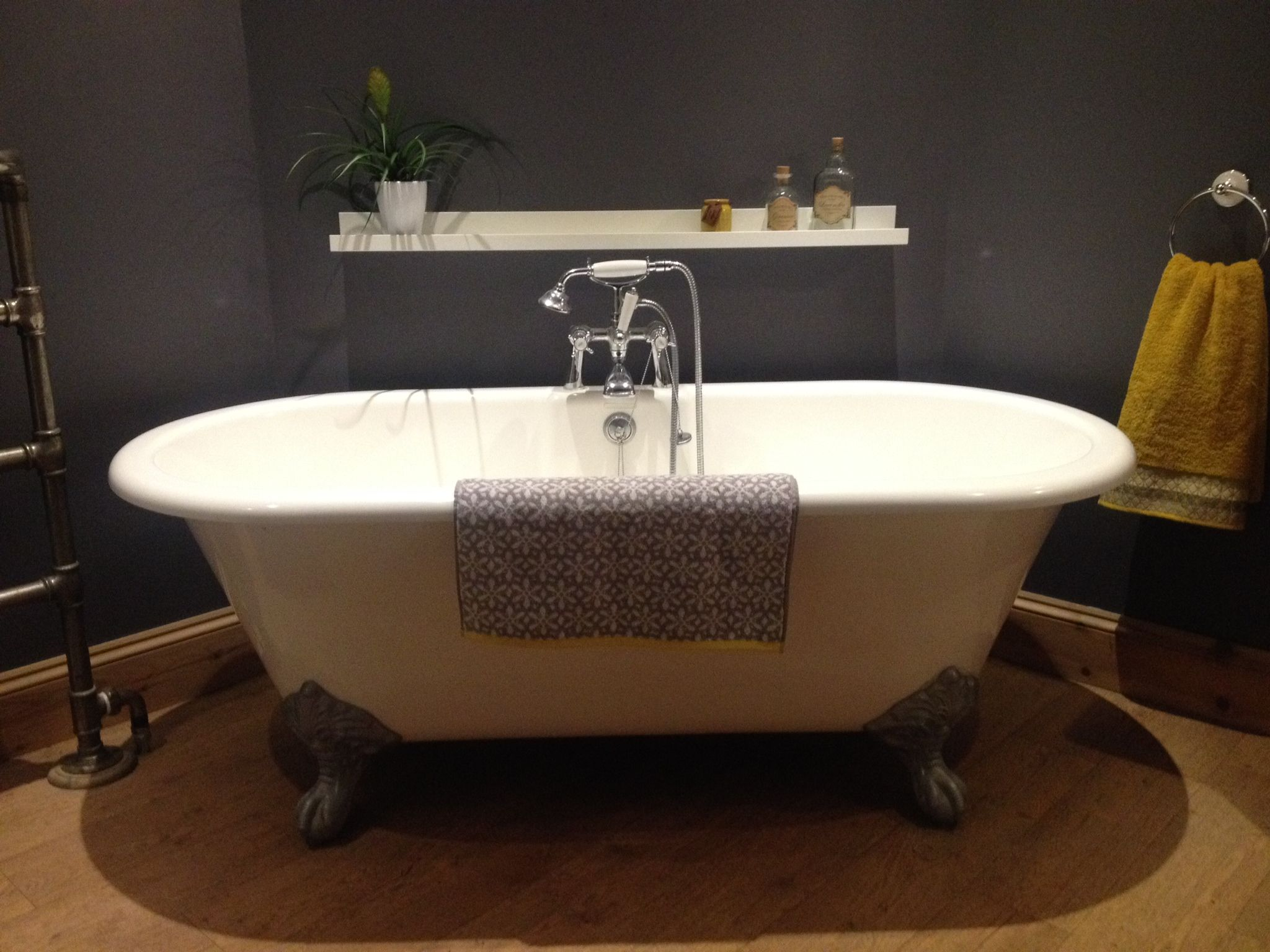 Loving my new bathroom... grey & mustard. Crown bathroom paint \'tin ...
