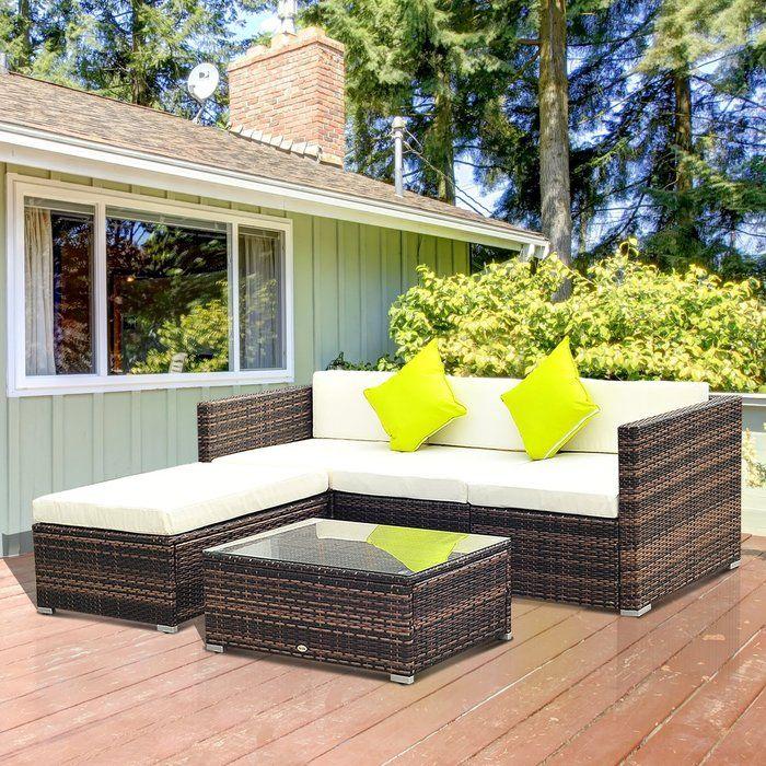 4 Seater Sofa Set with Cushions Garden sofa set, Wicker
