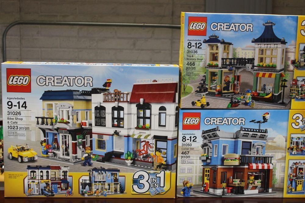 Lego Lot 3 Creator 3 In 1 Sets 31026 31050 31036 Bike Shop Deli Toy Shop Building Toys Bike Shop Toys Shop