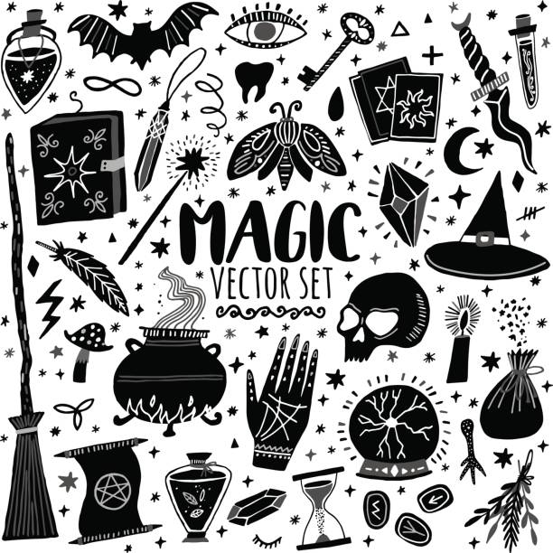 Vector magic icon handdrawn doodle set isolated on white