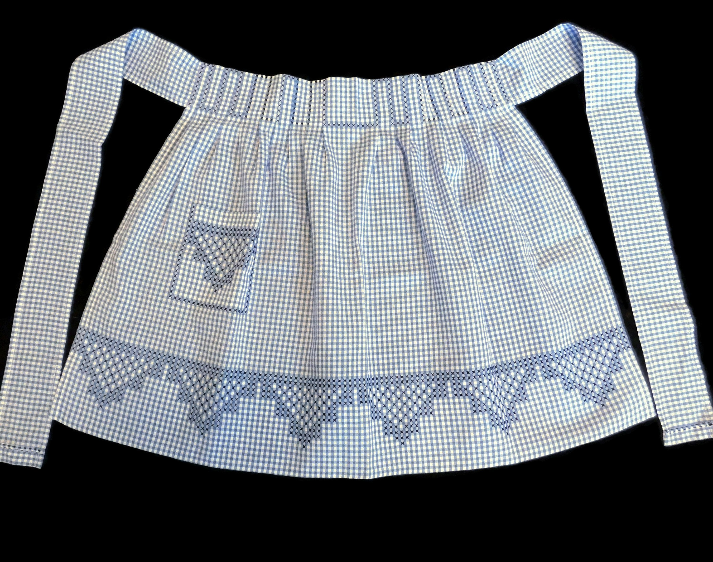 Cross Stitched Half Apron Vintage Gingham Hand Sewn