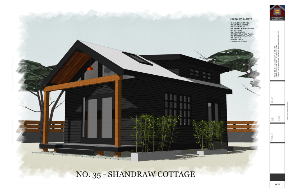 No 35 Shandraw Cottage 12 X 20 Backyard Loft Style Cottage 320 Square Feet Post And Pier Foundation P Cottage Plan Tiny House Exterior House With Porch