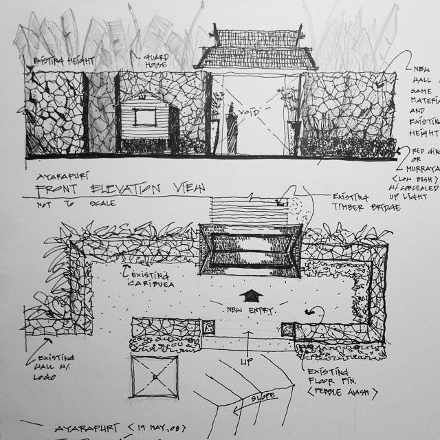 Entrance Freehand Drawing Sketch Architecturesketch Landscape Stone Fence