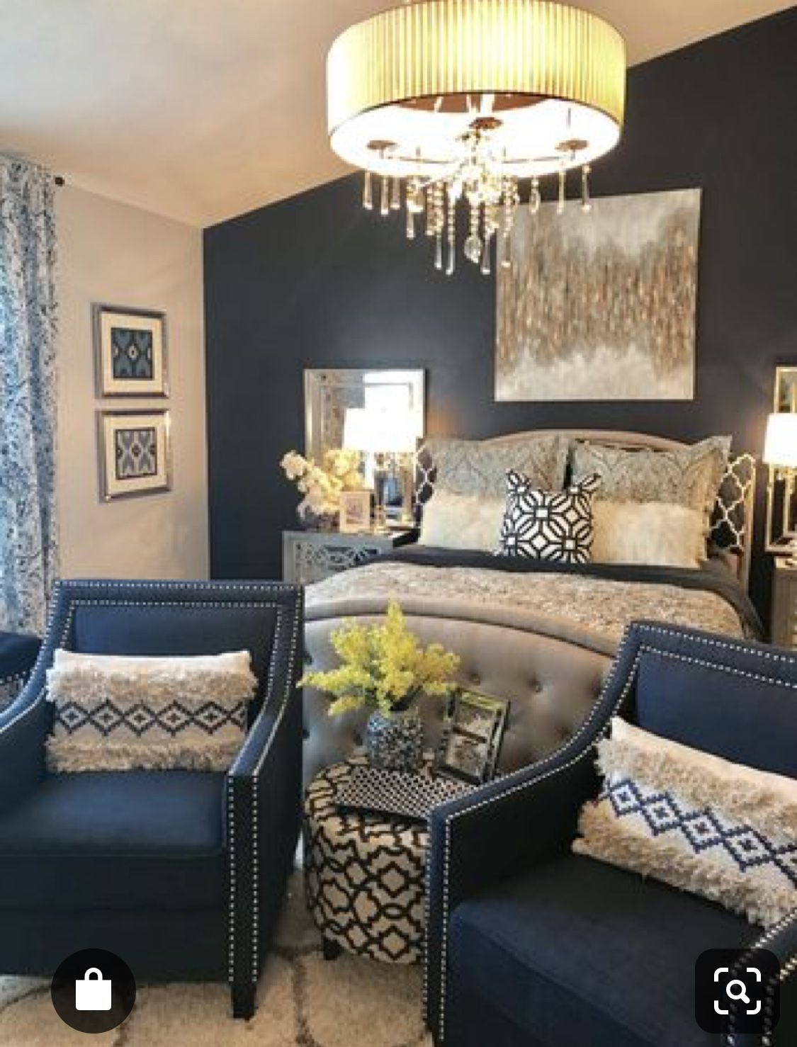 Master bedroom - navy and yellow - bold or neutrals - pop ...