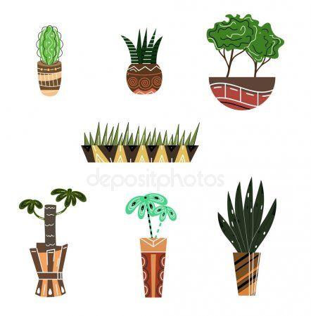 Комнатные растения и цветы в горшках. Плоский стиль ...