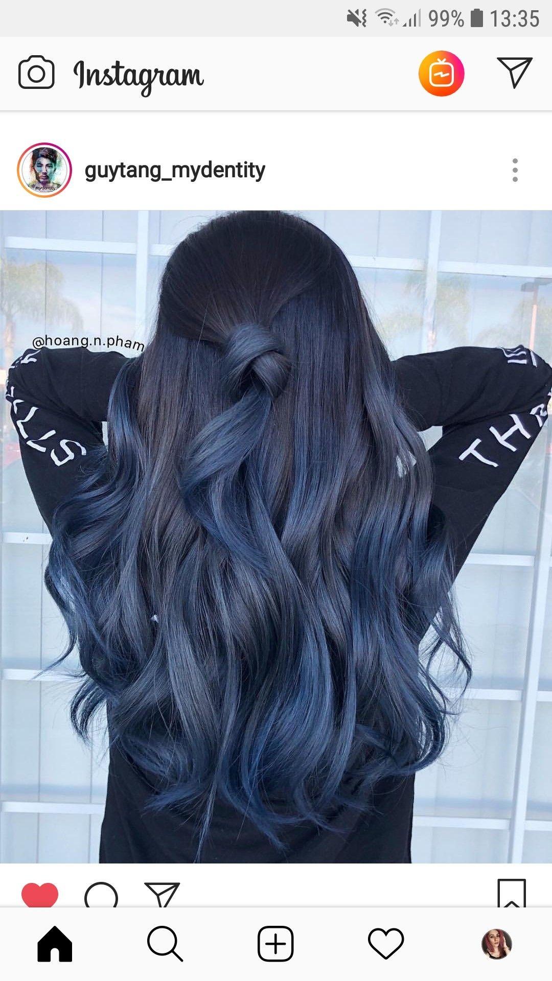 Pin By Montanaandmore On Hair Colour Hair Color For Black Hair Blue Ombre Hair Blue Hair Balayage