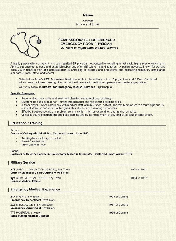 Emergency Physician Resume Examples Medical Resume Job Resume Examples