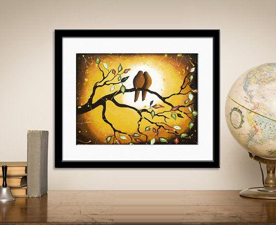 Whimsical Love Birds Art Archival Giclee Print by hjmArtGallery ...