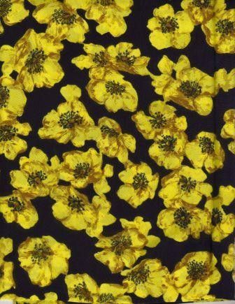 Vintage black and yellow floral fabric from England | YELLOW @ BLACK ...