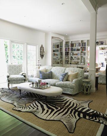 Love The Sofa Chair Covered In Raid Linen Seafoam And Zebra Print Animal Rugfaux Skin