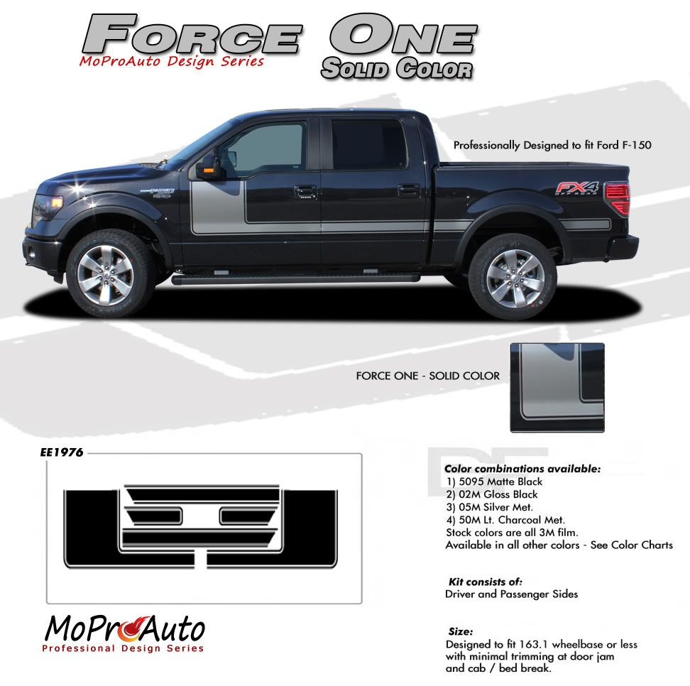 Force One Solid Color Ford F 150 Hockey Stripe Appearance Package Style Vinyl Graphics Decals Kit 2009 2014 And 2015 2016 2017 2018 Models Vinyl Graphics Ford F150 Ford