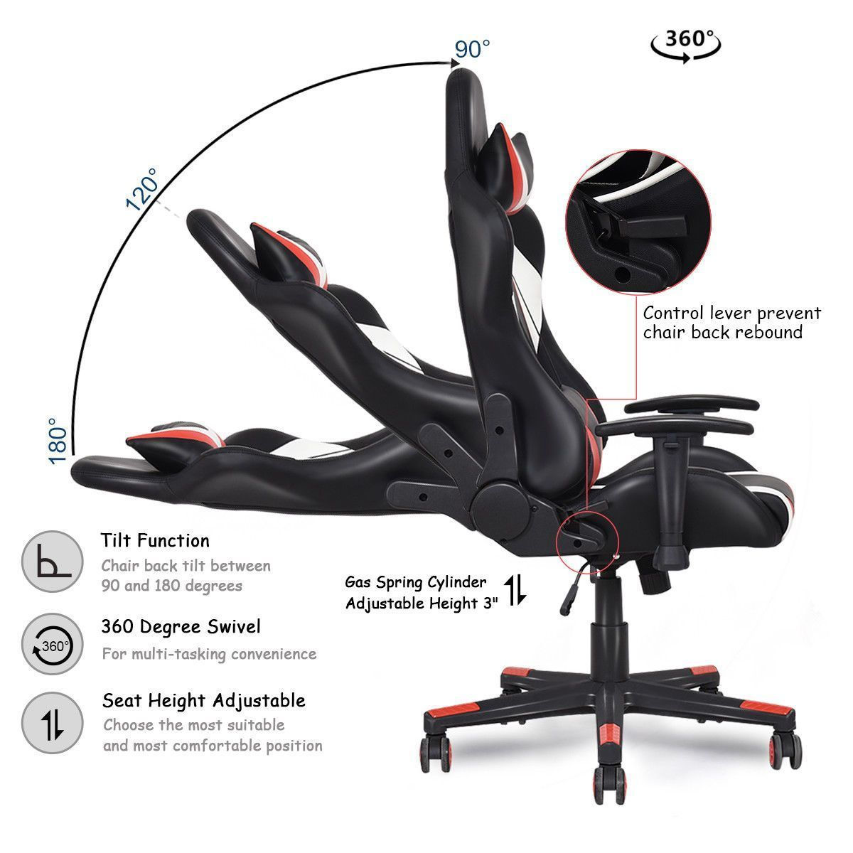 Gaming chair racing style high back recliner executive