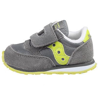 Saucony Baby Jazz HL Toddler St45520 Grey Citron Velcro Shoes