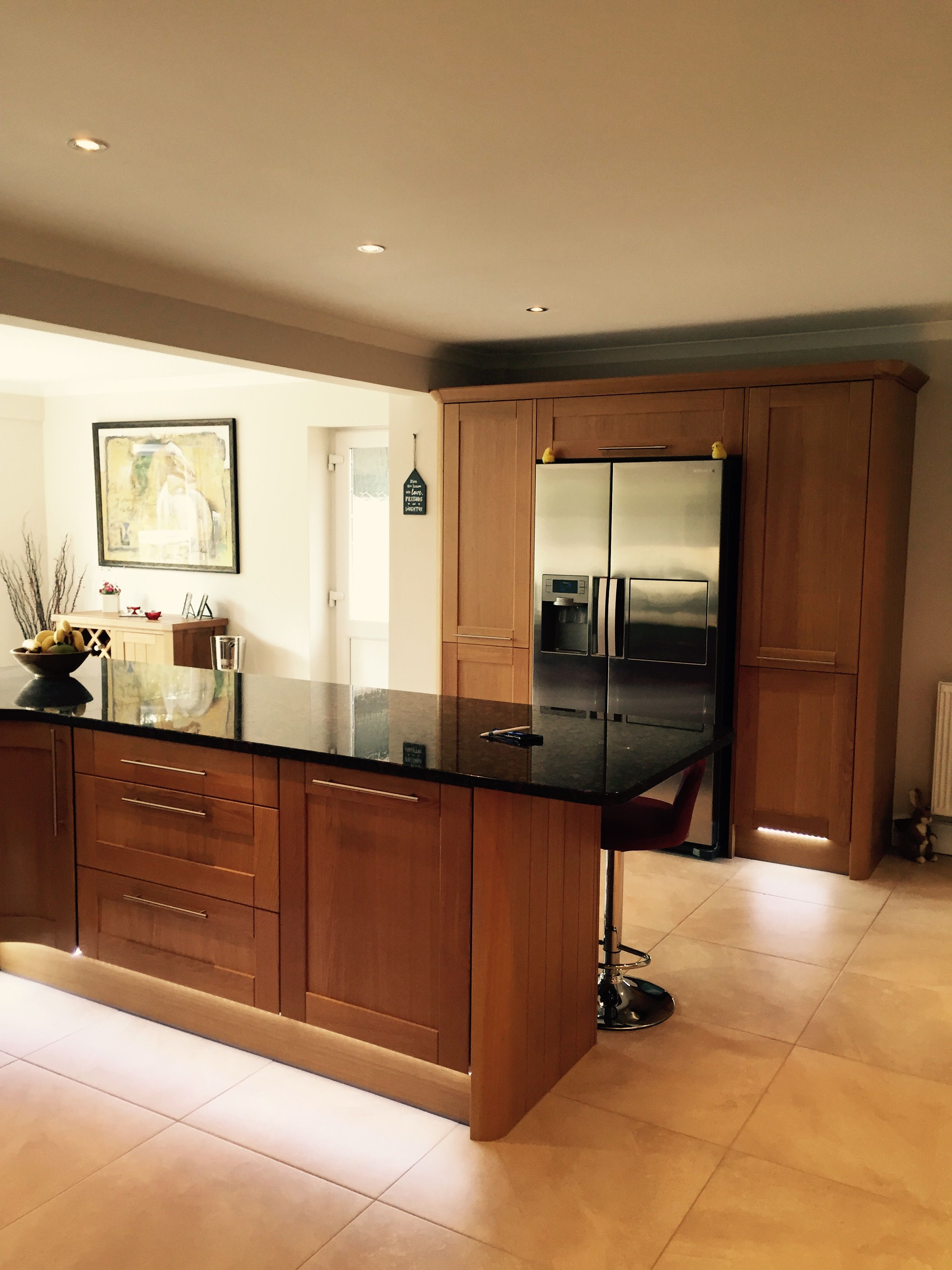 Shaker Light Oak Timber Looks Radiant In This Open Space The - Kitchen plinth lights white